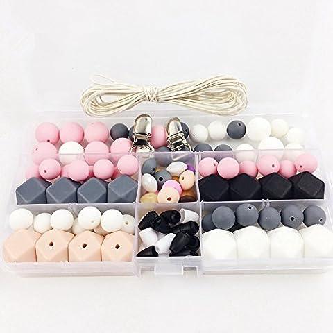 Clips de silicona Beads Teether DIY Crafts Conjunto Chupete Cuna juguete seguro y natural del grano de silicona Teether pendientes del collar del bebé Teether