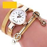 eBijoux 2066 - [BRAC GIALLO] Bracciale Orologio Donna da Polso - Con cinturino regolabile a 3 Clip - Quarzo - In Sacchetto vellutato Rosso e Oro - Regalo perfetto