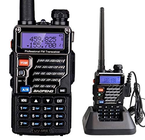 Mengshen® Baofeng UV-5RE Walkie Talkie Radio Profesional Dual Band Transmisor 128 Canales 136-174 MHz y 400-520 Hz (TX/RX) UHF VHF FM VOX Radio 5W Programmierbares con Auricular