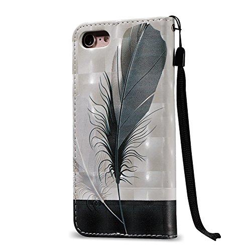Custodia iPhone 7, Custodia iPhone 7, ikasus® iPhone 7 Custodia Cover [PU Leather] [Shock-Absorption] Protettiva forte magnetico Cover Custodia Rilievo 3D dipinto copertura di cuoio con la cordicella  Piuma