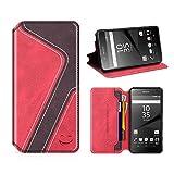 MOBESV Smiley Sony Xperia Z5 Hülle Leder, Sony Xperia Z5 Tasche Lederhülle/Wallet Case/Ledertasche Handyhülle/Schutzhülle mit Kartenfach für Sony Xperia Z5, Rot/Dunkel Violett