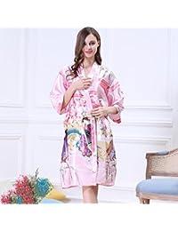 Albornoces Vestido de mujer Kimono vestido de albornoz de seda de imitación Clásica belleza Dama de