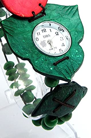 Green Beaded Watch with White Round Face with Green Leaf Shaped Bezel with Red Cover
