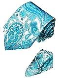 Lorenzo Cana - Marken 2er Set aus 100% Seide - Türkisblau Hellblau Krawatte mit Eintstecktuch - 8440301