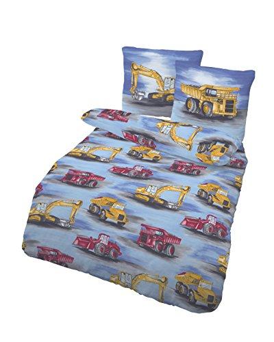 Träumschön Bagger Bettwäsche 135x200 Biber | Kinderbettwäsche Jungen | Bettwäsche mit Bagger 135x200 | Baustelle Bettwäsche | Bettwäsche aus Baumwolle