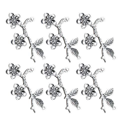 FENICAL 20 stücke Schmuck Machen Charms Legierung Blumen Charms Anhänger für Halskette Armband Schmuck Machen Zubehör (Antik Silber) (Reize Großhandel Schmuck)