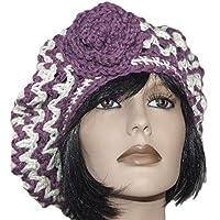 Berretto basco cappello donna lana uncinetto VIOLA 9634c5d0a59c