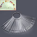 Mofun® 50X Nail Art Tips Colour Pop Sticks Display Fan Practice starter ring Clear