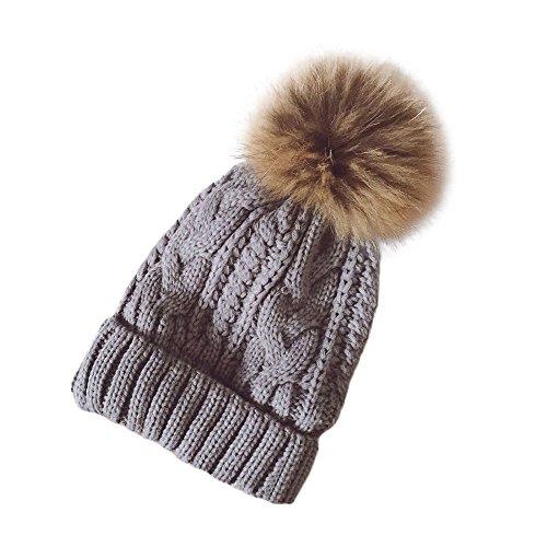 TEBAISE Frauen Mädchen Strickmütze Echt Pom Pom Beanie Hüte Winter Unisex Hüte...