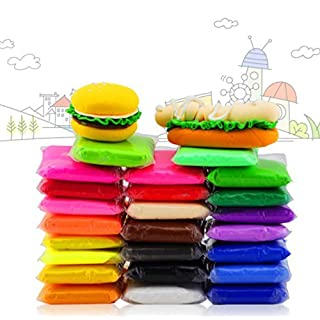 24 PCS iFergoo Colorful Kids Ultra light Moldeling Clay Magic Air Dry Clay Artist Studio Toy, 24 Colors No-Toxic Modeling Clay & Dough, Creative Art DIY Crafts Total 485g (17oz) (24 Colors Moldeling Clay)