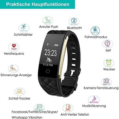 AsiaLONG Fitness Tracker mit Pulsmesser, Schrittzähler Uhr Fitness Armband Wasserdicht Aktivitätstracker mit Schlafmonitor, herzfrequenz, Kalorienzähler, Vibrationsalarm Anruf SMS Whatsapp Beachten mit IOS Android Smartphones (Upgrade Version) - 3
