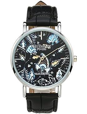 JSDDE Uhren,Casual Armbanduhr Pflanzen Mode Zeitloses Design Silber Analog Quarzuhr Lederarmband Lederuhr,Schwarz