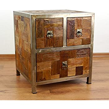 Colourful Bedside Table made from Reclaimed Teak Wood Java