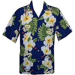 Camisas Hawaianas para Hombre Hibiscus Estampado de Flores Playa Fiesta Aloha Camp - Azul - X-Large