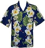Camicie stile hawaiano con stampa fiore di ibisco festa sulla spiaggia Aloha Blue XX-Large