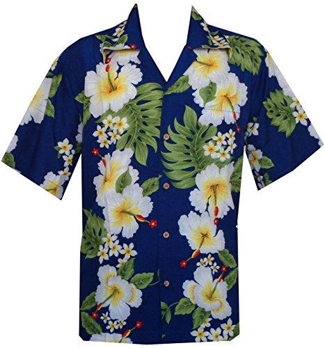 Hawaii-Hemd für Herren Hibiskusblüten-Aufdruck, für Strand / Party Gr. Medium, blau Silk Border Print Dress