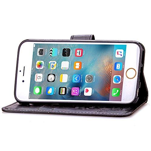 Feeltech Apple iPhone 6 Plus 6s Plus 5.5 Inch Bookstyle Étui en Cuir Case à Rabat Magnétique Fermeture Coque de Protection avec Porte Carte et Stand, Ultra Slim Portefeuille Motif Case Cover pour Appl Trèfle-Noir