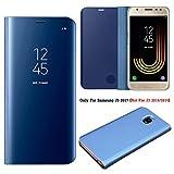 Guran® Effet Miroir Mirror Housse en Cuir PU pour Samsung J3 2017 (Euro Version) J330 Haute qualité Clear View Smartphone Flip Cover et Fonction Stent Étui pour téléphone Bleu foncé