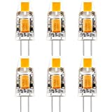 6-Pack, COB G4 LED Bulb - 1W / 130LM, 10W Halogen Bulbs Equivalent, Warm White 2800K-3000K, DC/AC 12V, Non-dimmable, 360�Beam Angle
