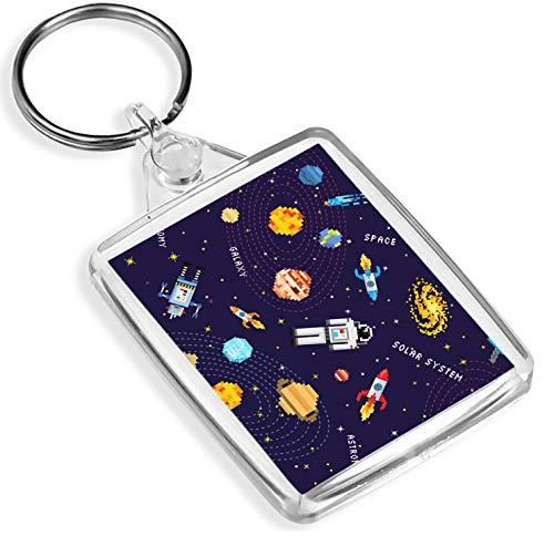 8 Bit Grafik Raum-Szene Schlüsselanhänger Asteroid Galaxy Schlüsselanhänger Gift # 14736
