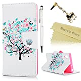 Mavis's Diary Sony Xperia XA1 Case , Xperia XA1 Flip Case - Wallet Flip Bumper Cover PU Leather Case Shockproof with Soft Rubber Silicone Gel Back Holder Magnetic Closure Stand Stylish Prints Protective Cover - with Dust Plug & Stylus for Sony Xperia XA1 - Blooming Tree