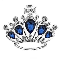 Idea Regalo - Joielavie Spilla a forma di corona reale con croce, intarsiata di cristalli a goccia d'acqua e strass, in lega, regalo di Natale, per San Valentino, compleanno, serate, per donna, signora o ragazza e Fede, colore: blu, cod. JB400025