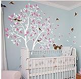 Wandaufkleber Weiß Große Kindergarten Baum Kinder Schlafzimmer Nette Dekor Baum Wandbild Mit Schönen Squrriels Vögel Abnehmbare Vinyl Baby Room Decor