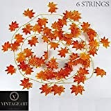 VINTAGEART Natural Look Orange Artificial Maple Leaves Creeper/Vine for Artificial Gardening and Home Decor | Pack of 6 Strings | (7 FEET Each)