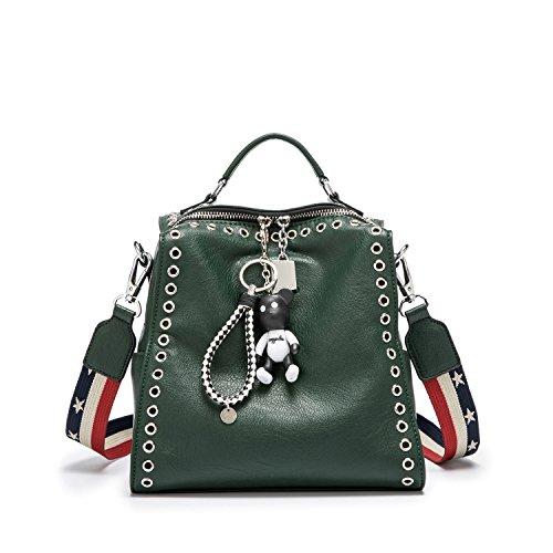 Damen Rucksackhandtaschen Schultertaschen Schulrucksack Tagesrucksack Laptoptasche Leder Dunkelgrün