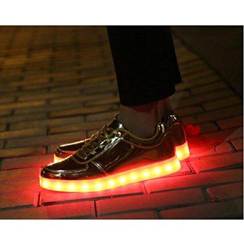 [Present:kleines Handtuch]JUNGLEST® 7 Farbe Lackleder High Top USB Aufladen LED Leuchtend Sport Schuhe Sportschuhe Sneaker Turnschuhe für Unisex-Erwachsene H Golden