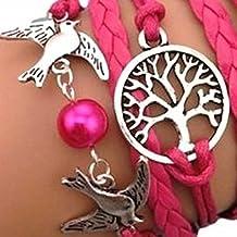 TOOGOO(R) Pulsera infinito arbol de la vida, paloma y perla / eternidad /one direction / karma - rosa red / plata