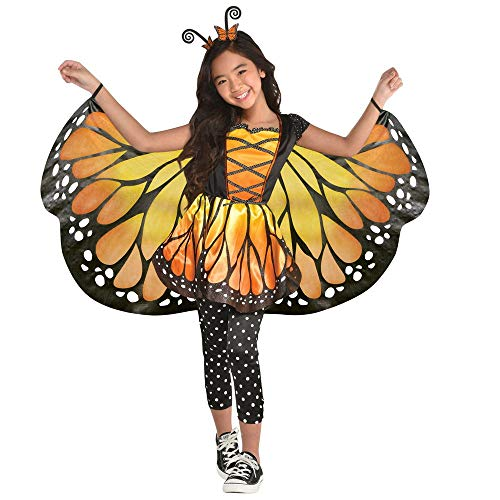 shoperama 4-teiliges Mädchen Kostüm Königlicher Schmetterling Kleid Flügel Leggings Haarreifen Monarch-Falter, Größe:134 - 8 bis 10 Jahre (Mädchen Tier Kostüm Kleid)