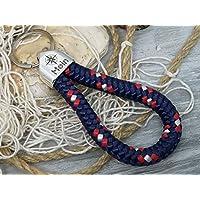 MOIN - Schlüsselanhänger Schlaufe - blau rot weiß - handgetüdelt in Hamburg - maritimes Geschenk, für einen Umzug nach Norddeutschland oder an die Küste