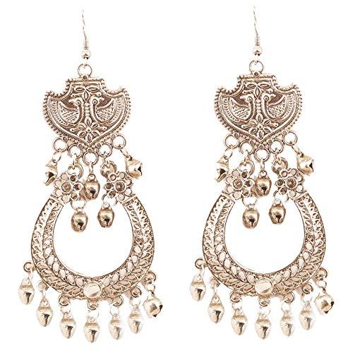 """Touchstone\""""Tribal Bohemian Chic\"""" ethnischen afghanischen Pfau Thema feine Prägung Designer-Schmuck lange Kronleuchter Ohrringe für Damen Silber"""