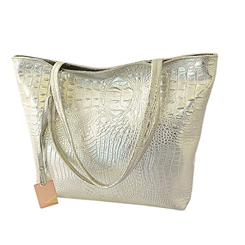 Wewod 2017 Damen Croco Prägung Leder Tasche Torte Frauen Freizeit Handtasche Große Kapazität Arbeit Schule Büro Reisen (Silber) (Faltbare Rv-tasche)