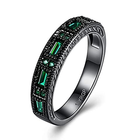 Eternity Love Wedding Bands Women's 18K Black Gold Plated Rings Princess Cut CZ Crystal Engagement Rings Best Promise Rings Anniversary Wedding Rings for Lady Girl,
