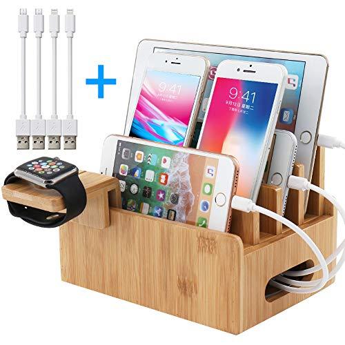 BEEBO BEABO Bambus-Ladestationen Ständer für mehrere Geräte Schreibtisch-Docking Station Organizer Aufbewahrungsbehälter für Handy Tablet Uhr mit 4 USB-Kabel