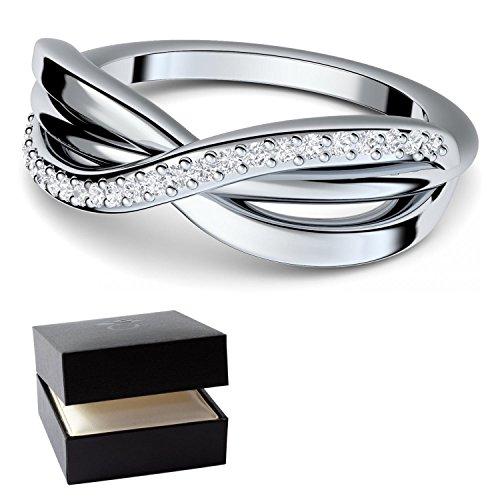 SWAROVSKI Ring Infinity Verlobungsring mit SWAROVSKI Stein + GRATIS LUXUSETUI + Unendlichkeits Ring Silber 925 Zirkonia wie Diamant 925er Silberring Unendlichkeit FF586 SS925ZIFA52