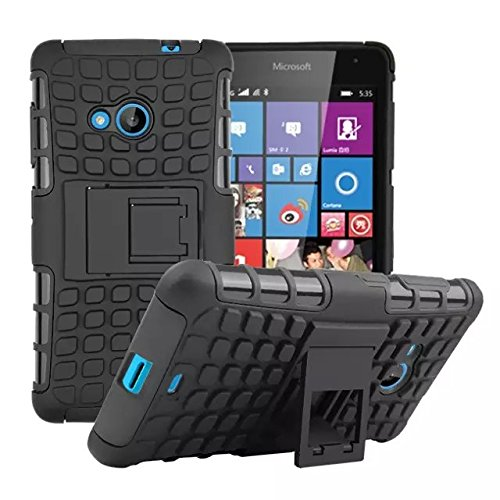 535 Case, DRUnKQUEEn® Rugged Hybrid Armor Dual Layer Hard Shell Tread Grenade Grip Combat Textured Kickstand Case Cover for Microsoft Lumia 535