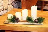 KAMACA 4er Set (=4 Stück) Echtwachs - LED Kerzen in Elfenbein - LED Wachskerzenset mit Flackerlicht - inklusive Deko - Kerzenschale aus echt Holz - Zimtstangen (echt) - Tannenzapfen (echt) - Tannenzweige (Metall) - dekorative und stromsparende LED Technik inkl. praktischem Ein- und Ausschalter für jede einzelne LED Kerze - für den Innen - Bereich - aus dem KAMACA-SHOP