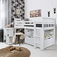 Noa and Nani - Oliver Sleep Station Midsleeper Cabin Bed with Desk, Storage Unit Drawers and Shelves - (White)