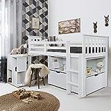 Noa and Nani - Oliver Sleep Station Midsleeper Cabina Cama con Escritorio, Unidad de Almacenamiento cajones y estantes - (Blanco)
