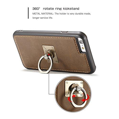 Handy-Hüllen & Hüllen, CaseMe für Apple iPhone 6s Plus zurück Fall, magnetische Wölbungshalterung mit 360 drehender Finger Ring Stand TPU PC rückseitige Abdeckung für iPhone 6 Plus ( Farbe : Braun ) Braun