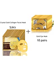 5 Pack 24K Gold Collagen Crystal Face Mask + 10 Pairs Eye Mask Anti-Wrinkle Dark Circles and Puffins Skin Whitening & Moisturizing Treatment - Bio-collagen Crystal Facial Mask For Skin Rejuvenation and Repair