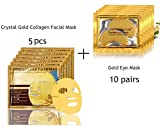 5 Pack 24K Gold Collagen Crystal Face Mask + 10 Pairs Eye Mask, Bio-collagen Crystal Facial Mask for Skin Rejuvenation and Repair Anti-Ageing Wrinkles Moisturising Effect
