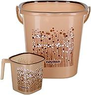 Nayasa 2 Piece Plastic Bathroom Bucket and Mug Set, Brown - by AAROHI13