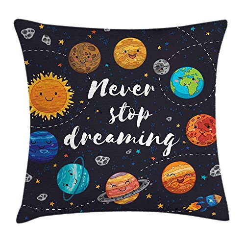 s Decor Throw Pillow Cushion Cover Cute Outer Space Planets and Star Cluster Solar Moon and Comets Sun Cosmos Image, Decorative Square Accent Pillow Case, 18 X 18 Inches, Multi ()