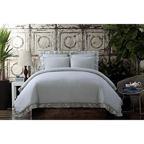 Cottage Classics Voile Rüschen aus gewaschener Baumwolle Steppdecken-Set Full/Queen grau - Cottage White Queen