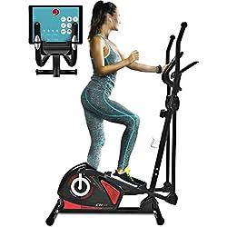Sportstech CX608 Bicicleta elíptica Cross Trainer Compatible con App Kinomap para Smartphone, Bluetooth, compatiblecon pulsómetro, Soporte para Tablet, 12 kg inercia, Sistema de manivela 3 Partes