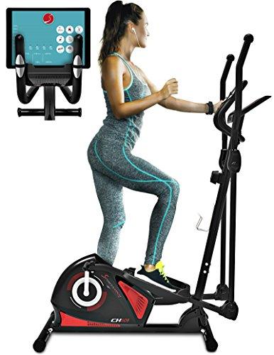 Sportstech CX608 Elliptical Cross Trainer with Smartphone App & Bluetooth Interface, Exercise Bike, Tablet Holder, Pulse Belt Compatible - Ergometer, 12 kg Flywheel, 3-Way Crank System - with Kinomap